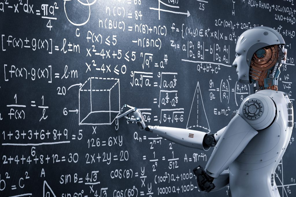 AI image with robot and equations on a blackboard